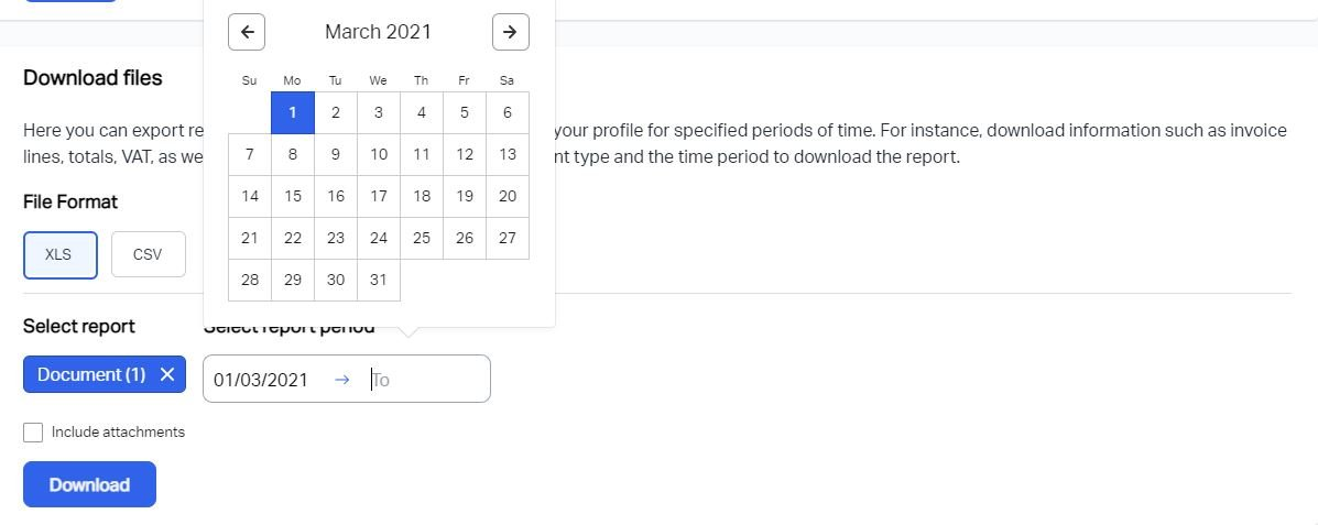 A screenshot showing how to choose a date range for your data export from Debitoor invoicing software