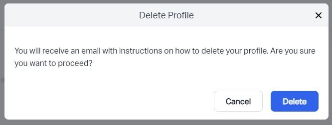A screenshot of the Debitoor web app, showing how you can delete your account